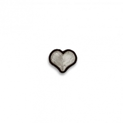 Broche brodée Coeur argent