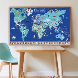 Poster éducatif Poppik / Les drapeaux du monde