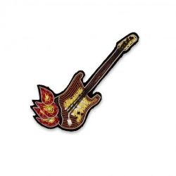 Broche brodée Guitare en flamme