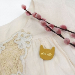 Broche cuir Chat