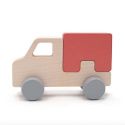 Camion à roulettes en bois de hêtre / Rouge