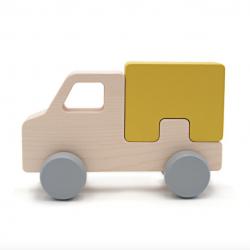 Camion à roulettes en bois de hêtre / Jaune