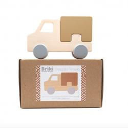 Camion à roulettes en bois de hêtre / caramel