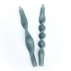 Bougies torsadées / lot de 2 / Grey