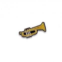 Broche brodée Trompette